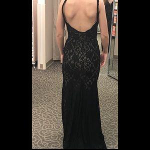 7105d96ab1cf Xscape Dresses | Black Lace Prom Dress With Tan Underlay | Poshmark